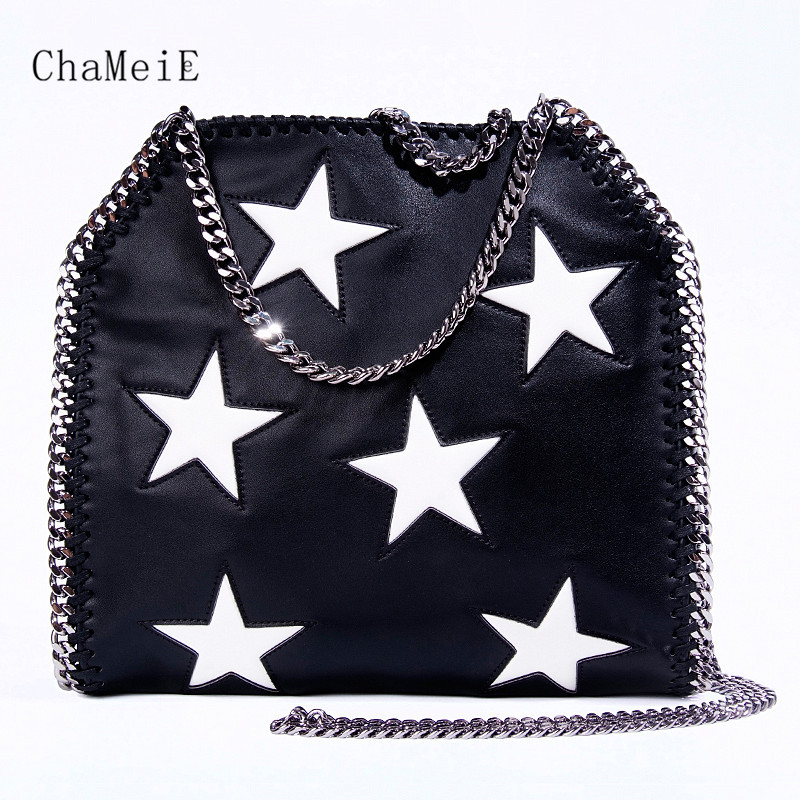 Hot sale 3 chains Women Bag Star Luxury Brand Shoulder Bag PU Crossbody Bag Fashion Design Lady Messenger Bag Bolsa yiyohi women fashion pu fight color small shoulder bag star messenger storage bag gril crossbody bag 5 5 inch mobile phone bag