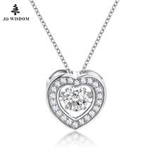 JO WISDOM Fine Jewelry 925 Sterling-silver-jewelry Heart Pendant Silver Necklace Long Necklace For Women Jewelry Stone Necklace