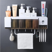 Automatic Toothpaste Dispenser Dustproof Wash Cup Toothbrush Holder Set Wall Mount Stand Toothbrush Family Toothbrush Holder