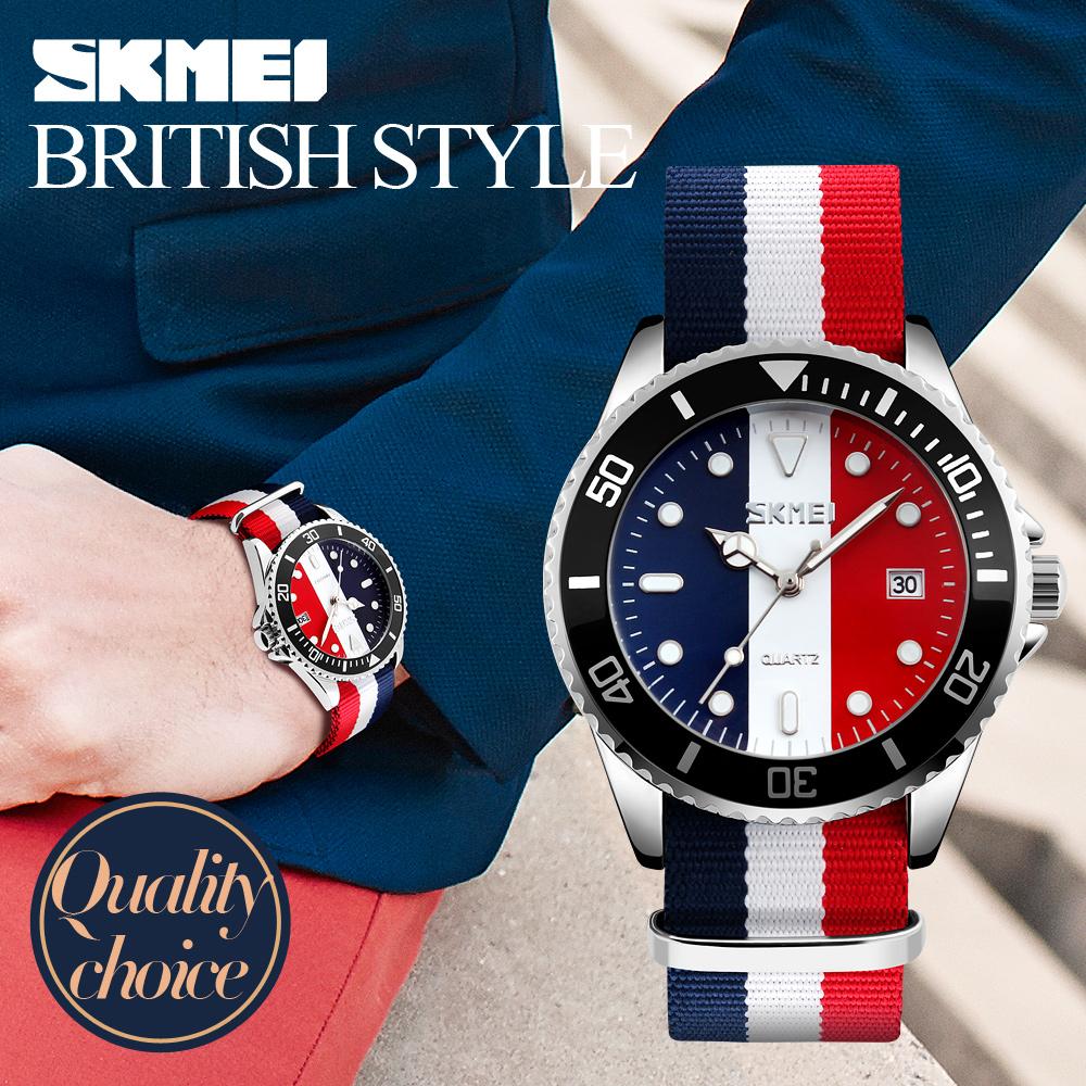 Prix pour 2017 Nouveau SKMEI Montres Hommes Marque De Luxe Homme Horloge À Quartz Montre De Mode Multicolore Bande Nylon Tissu Toile Hommes Montre-Bracelet