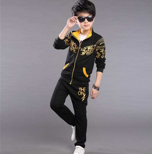 For 8 9 10 11 12 13 years kids teens clothes boys Autumn children's clothing set cotton jacket+pants kids boy sports suit