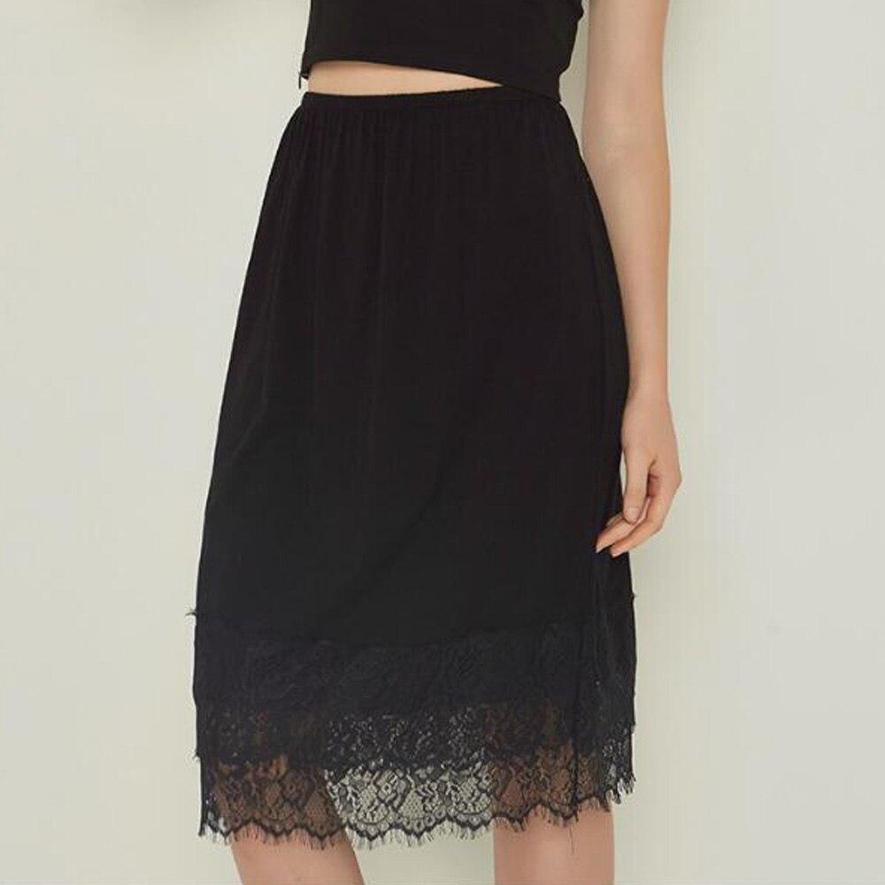 Юбка-комбинация; женские юбки до колена; юбка миди с кружевным подолом; цвет черный, белый; нижнее белье; дешевое нижнее белье; Jupon Femme
