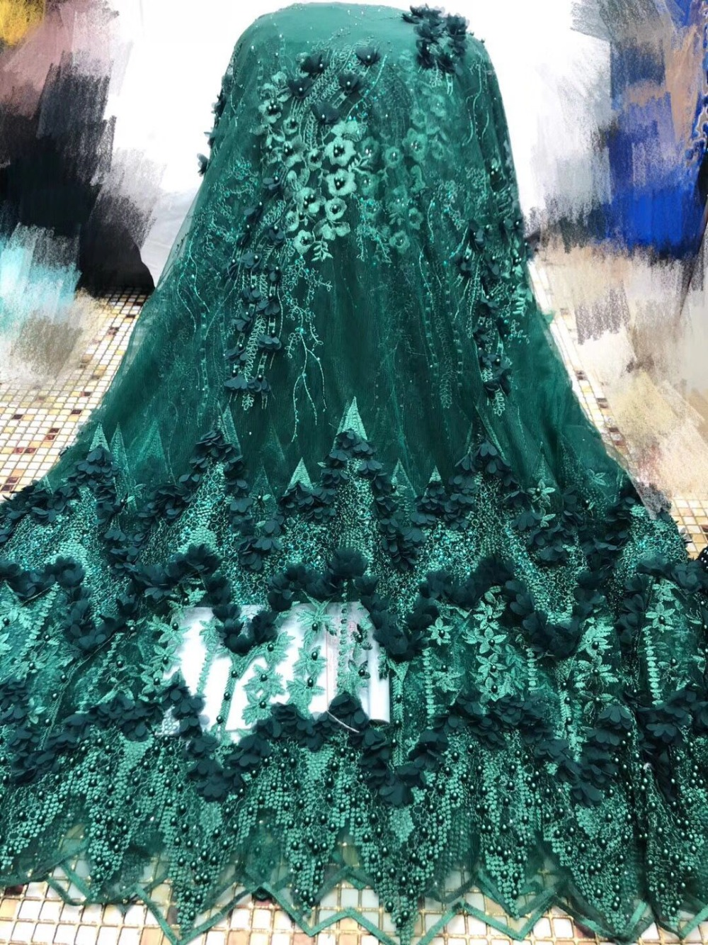 2019 Hot sell new Emerald green Nigerian French beaded Lace Fabric African Bridal Net Lace High