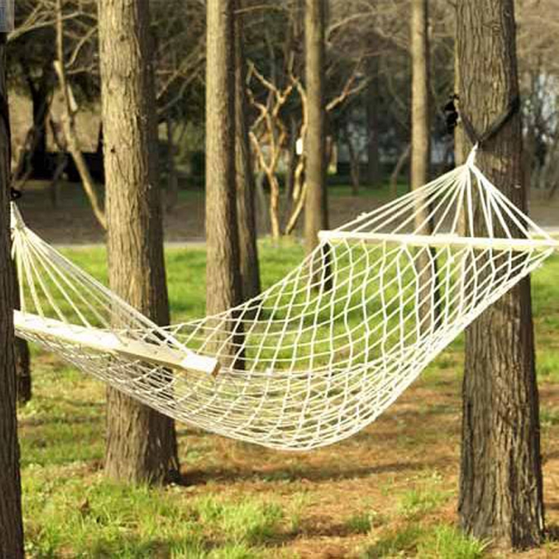 Outdoor Swing Hanging Camping Wood Pole Cotton Rope Hammock Bed-US Stock