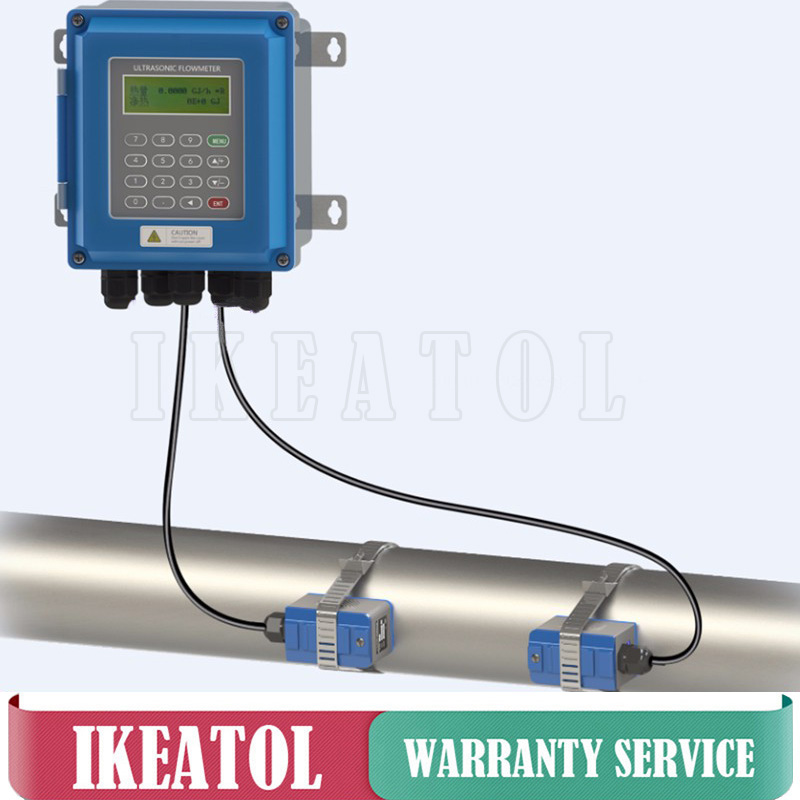 Digital Ultrasonic flow meter TUF-2000B TS-2 Transducer DN25mm-100mm wall mounted type liquid flowmeter IP67 protection