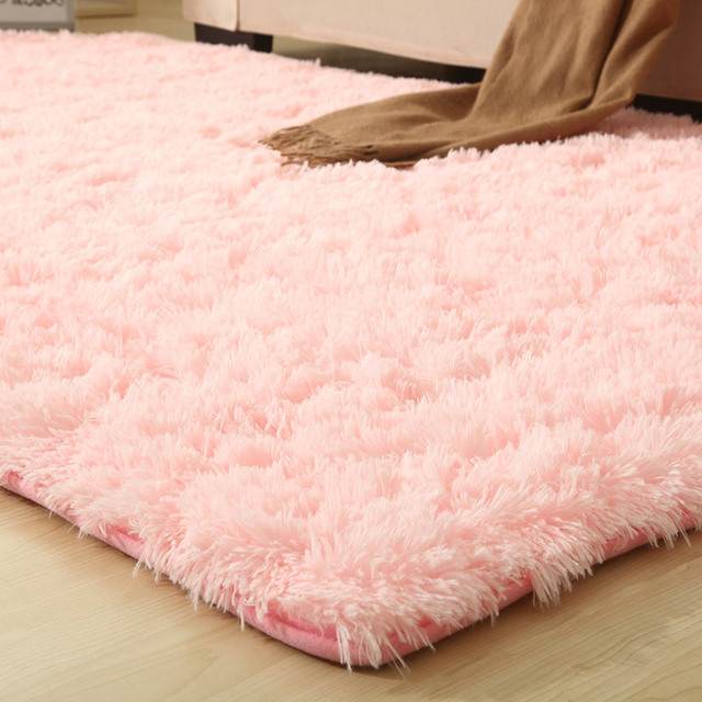 9 צבעים מוצק שטיחים ורוד פופל שטיח עבה החלקה אזור שטיח לסלון רך ילד שינה מחצלת Vloerkleed
