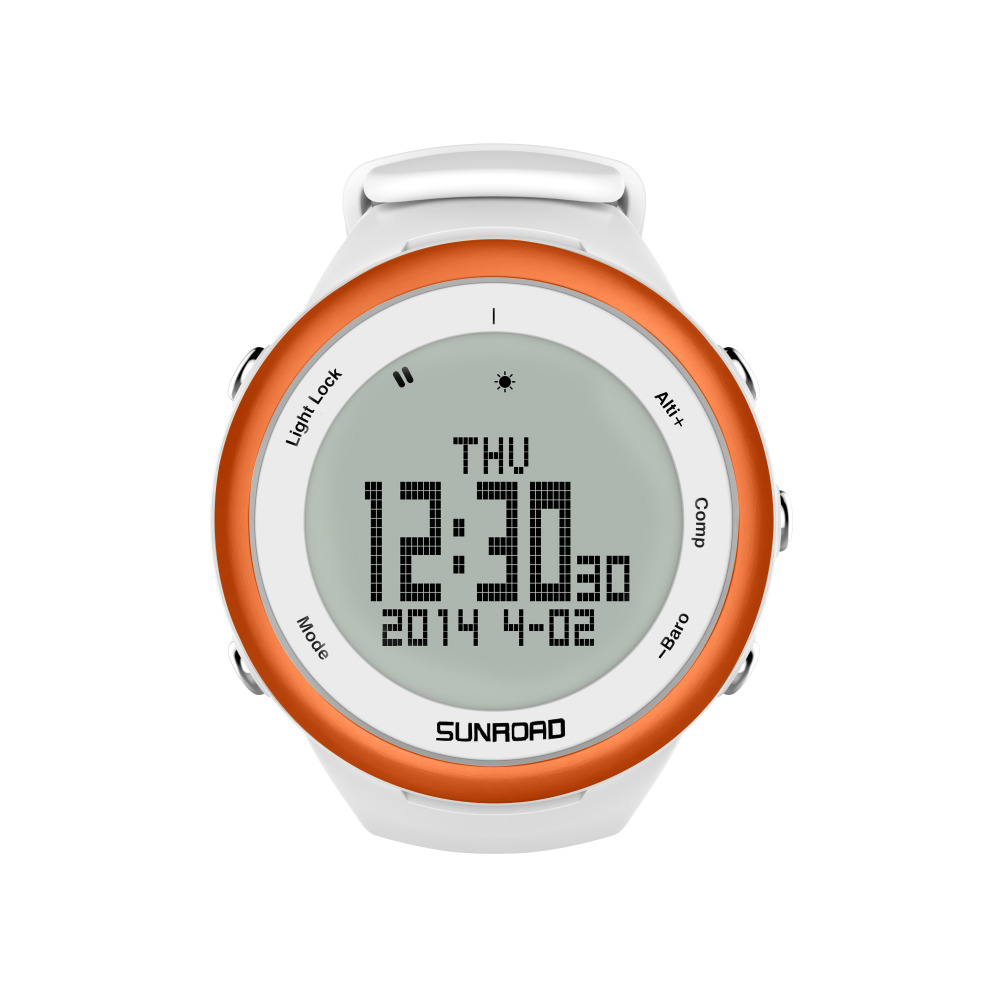 SUNROAD FR852A Climbing Men Digital Watch Barometer Altimeter Compass Backlight Waterproof Smart Sports Watch (Orange) sunroad 2018 new arrival outdoor men sports watch fr851 altimeter barometer compass pedometer sport men watch with nylon strap