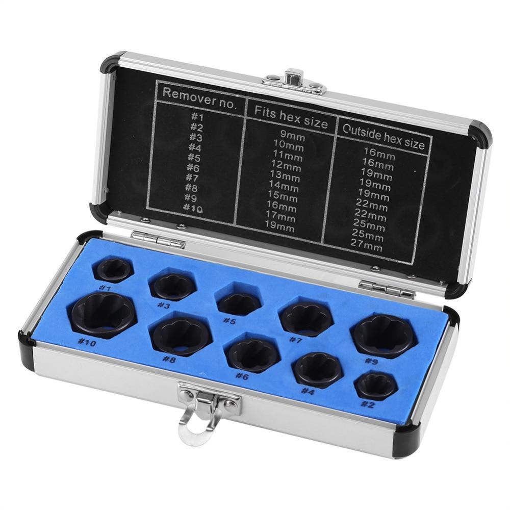 10pcs/set 11pcs/ set 9-19mm Damaged Nuts Bolts Remover Stud Extractor Tools Set Locking Socket Hand Tools Set