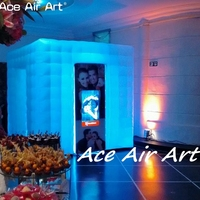 2.4m LED CUBE colorful spotlighting wedding cube inflatable photo booth,foto boxes enclosure for sale in Chile