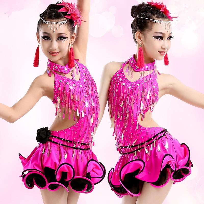 2016 New style children Latin dance costume spandex tassel stones latin dance dress for girls latin dance competition dresses