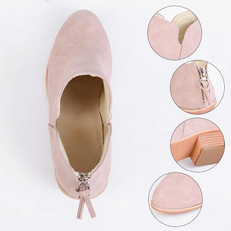 Yeni Sonbahar Ayak Bileği Kadın Çizmeler Kare Topuk Kadınlar Üzerinde Kayma Kadın Yüksek Topuklu tek ayakkabı Sivri Burun Rahat Bayan Ayakkabıları