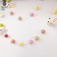 30pc Plush Ball Multicolour Baby Room Birthday Decoration Cute Rabbit DIY Crafts Wool Felt Balls Decorations