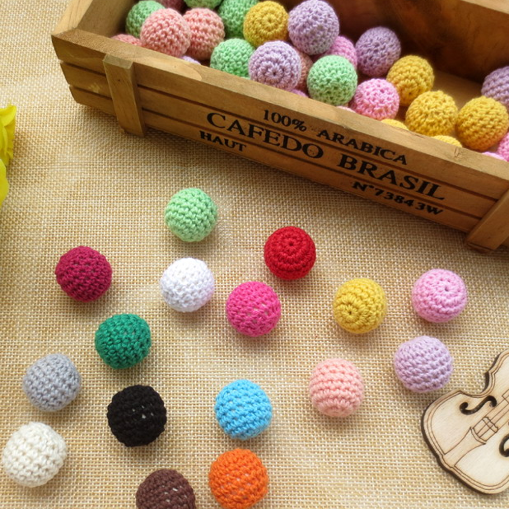 1 Pcs Crochet Wooden Beads 18mm Coffee Purple Light Blue Knitted Wood Beads Accessories For Bracelets Necklaces Color Random Moderate Price Beads & Jewelry Making