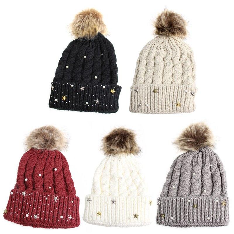 Fashion Women Lady Faux Fur Ball Crochet Knitted Hat Winter Warm Beanie Chic Cap  fashion women lady faux fur ball crochet knitted hat winter warm beanie chic cap