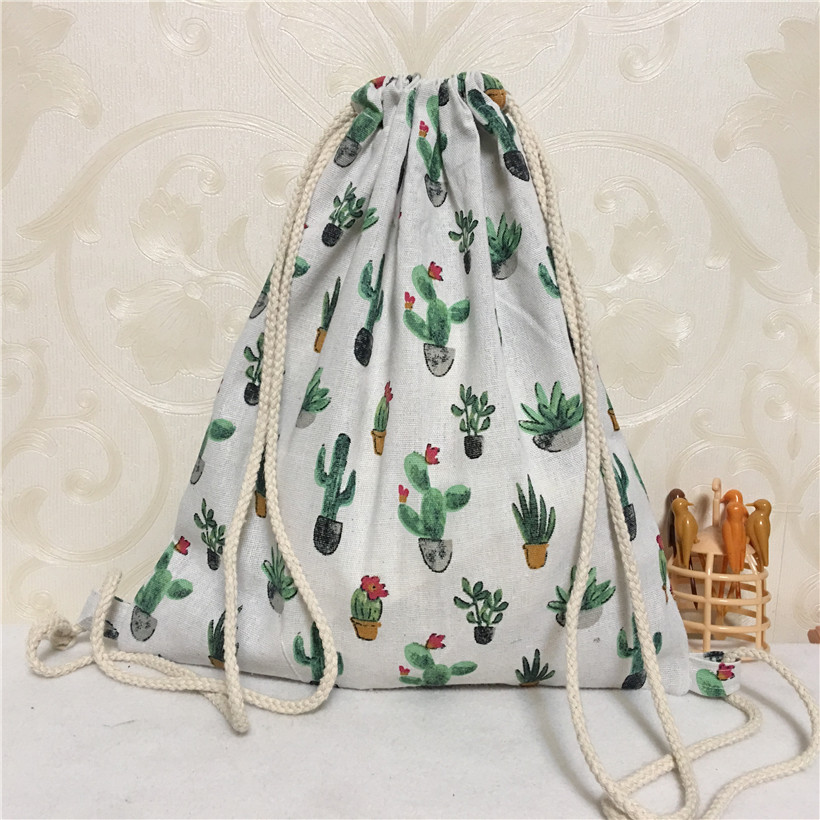 YILE Cotton Linen Drawstring Eco Backpack Student Book Bag Print Potted Cactus B8503-5