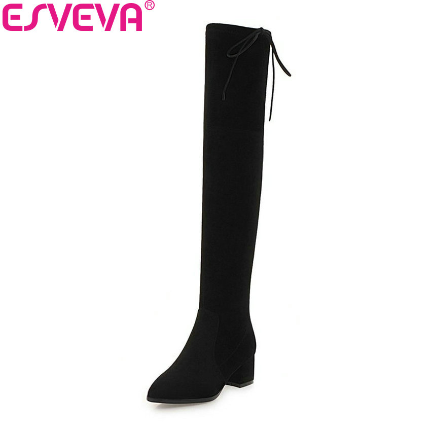 цены ESVEVA 2019 Women Boots Winter Over The Knee Boots Flock Basic Square Med Heels Sewing Spring Autumn Ladies Boots Size 34-43