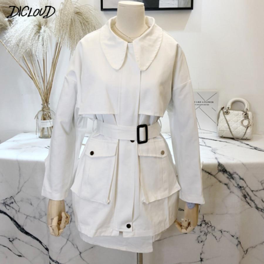 Korean lapel elegant long   trench   coat women Fashion long sleeve twotwinstyle long coat female Autumn casual slim   trench   coat