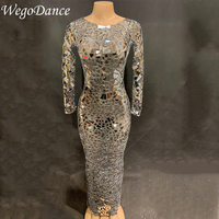 Women Sexy Long Mesh Mirrors Dress Sequins Big Stretch Costume Stage Dance Wear See Through Evening Birthday Celebrate Dress