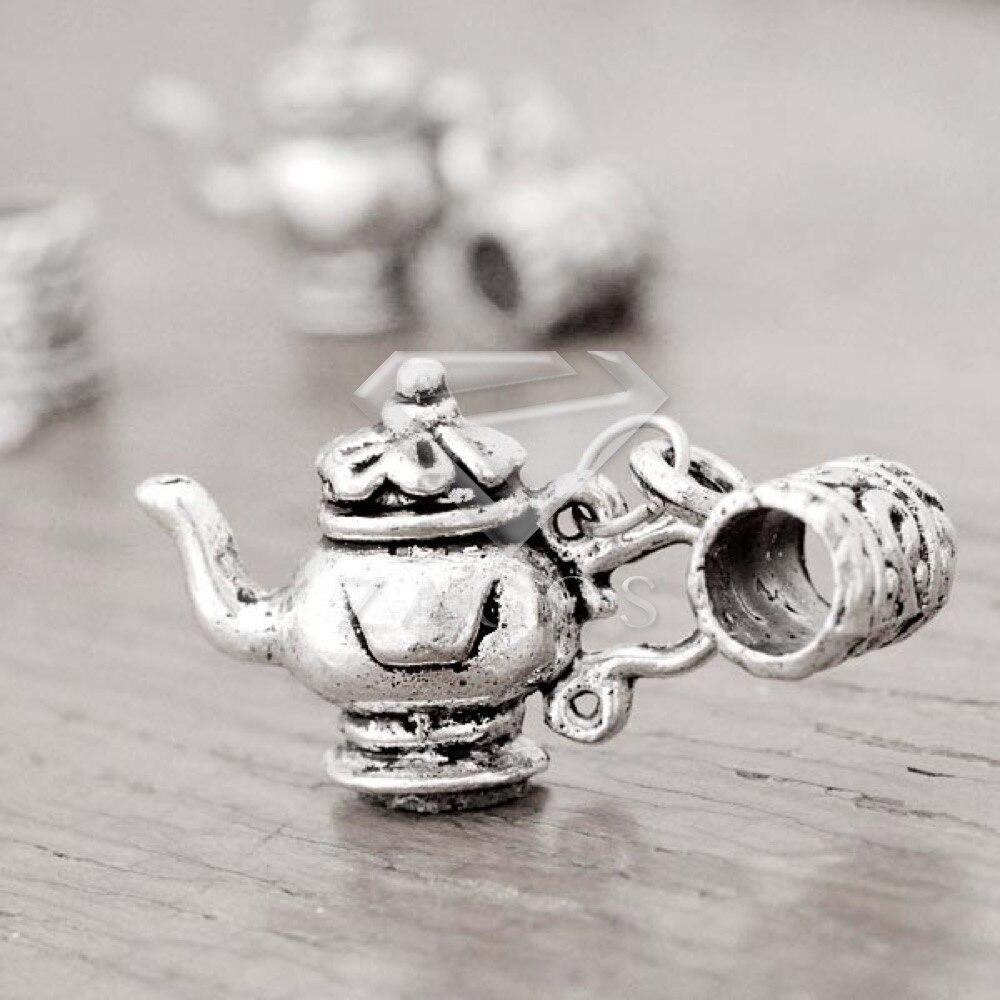 20Pcs Antique Silver Tibetan Silver Tone Teapot 21x15x5mm Pendant Charms Zinc Alloy Fit Bracelet Necklace Wholesale TS3940