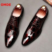 OMDE NEW Fashion Pointed Toe Oxford Shoes For Men Stone Print Patent Leather Shoes Men Formal Shoes Lace-up Dress Shoes цены онлайн