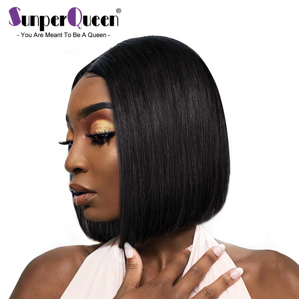 Sunper Queen 13x4 Lace Short Bob Wigs Peruvian 100% Remy Hair Can Be Dyed Lace Front Human Hair Wigs Pre-Plucked Bleached Knots