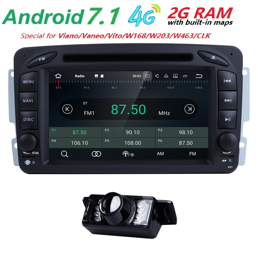 AutoRadio 2 din Android 7.1 GPS Car DVD Player head unit For Mercedes Benz vito w639 CLK C-209 W203 W168 ML W163 W463viano Vaneo