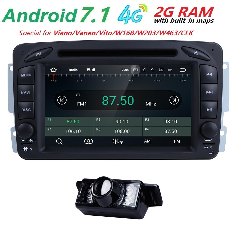 AutoRadio 2 din Android 7.1 GPS Car DVD Player head unit For Mercedes Benz vito w639 CLK C-209 W203 W168 ML W163 W463viano Vaneo
