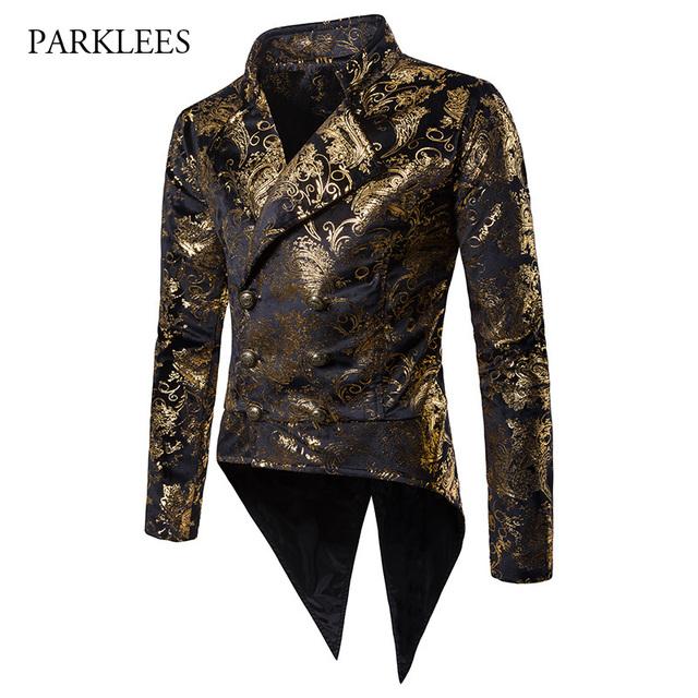 831acb813 Steampunk Hombre Blazer Men Paisley Floral Tuxedo Suit Jacket Men Blazer  Double Breasted Wedding Stage Show Blazer Masculino