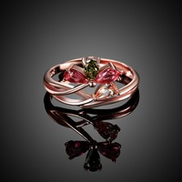 R091 Unqiue Multi Color Crystal Rings For Girls Favourite Gift Chizuru Good Luch Symbol Rings Rose