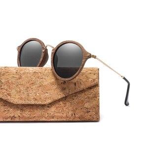 Image 3 - Ультралегкие поляризационные солнцезащитные очки для мужчин и женщин в круглой деревянной оправе с линзами CR39