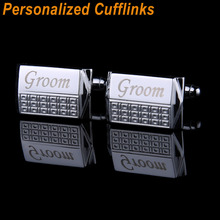 Custom Engraved Cufflinks Sliver Personalized Wedding Customized Shirt Cufflink For Mens Gifts Initials Gemelos Jewelry Buttons