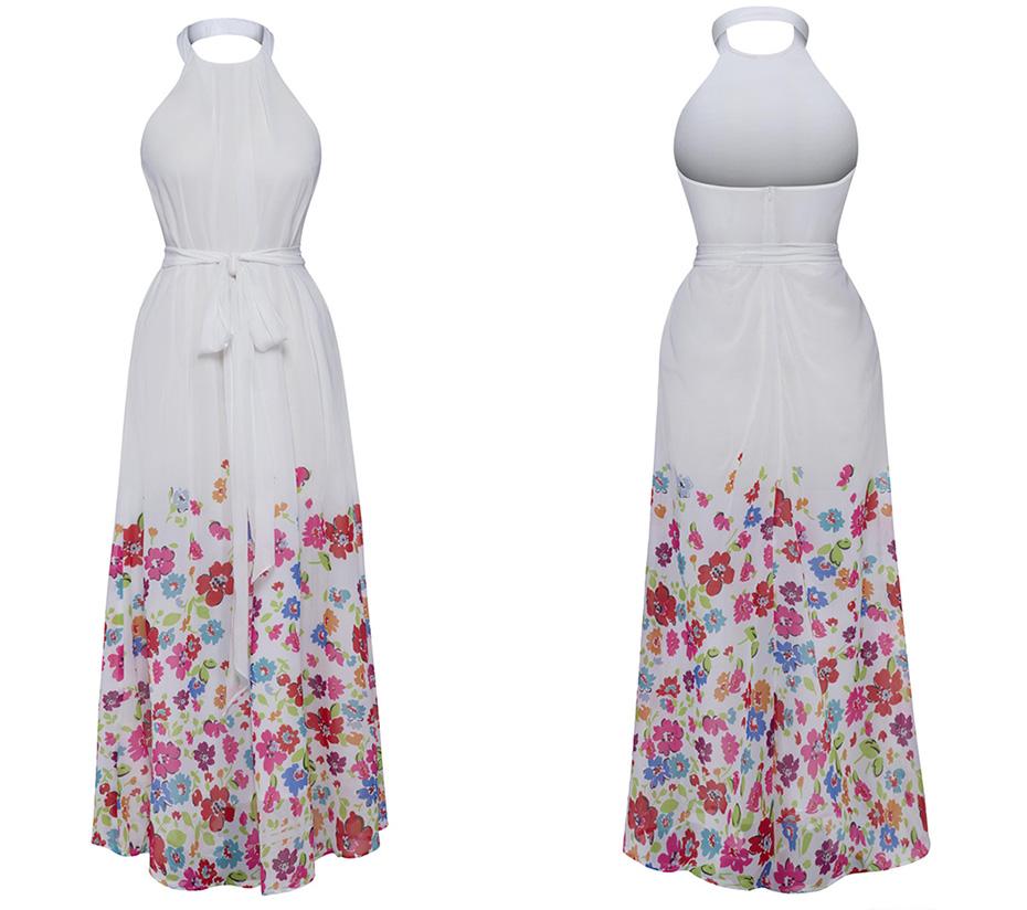 Vintacy Summer Beach Long Dress Women Sexy Halter Cold Shoulder Backless  Maxi Dresses Plus Size White Belt Floral Print Dress 88d7a89a1461