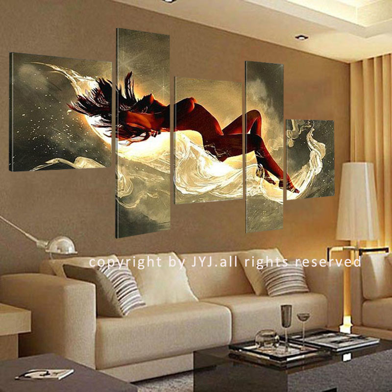 Aliexpress Com 5 Panels Y Lady Oil Painting Wall Art Quality Hand Painted Canvas For Living Room Decoration No Framed Jyjhs008 From