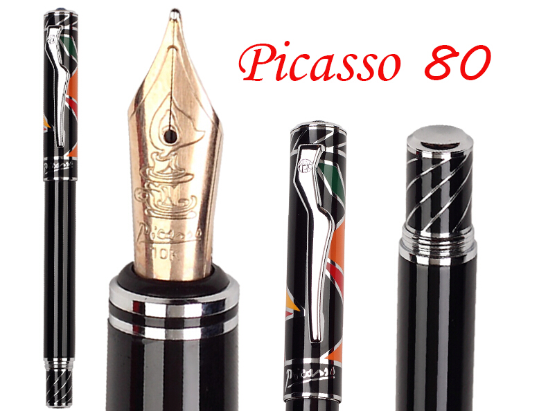 8 pcs/lot wholesale Fountain Pen Black M 10 K Solid Gold Nib Picasso 80 Executive Signature NIB Stationery Free Shipping 8pcs lot wholesale fountain pen black m 14 k solid gold nib or rollerball pen picasso 89 big executive stationery free shipping