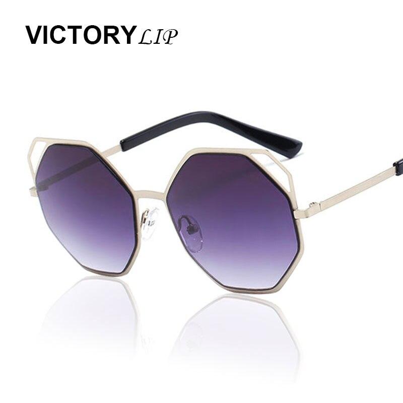 cb6c235c75a04 Victorylip 2017 marca designer tendência mulheres cat eye sunglasses  hexágono polígono toldos senhora uv400 espelho óculos de sol frescos