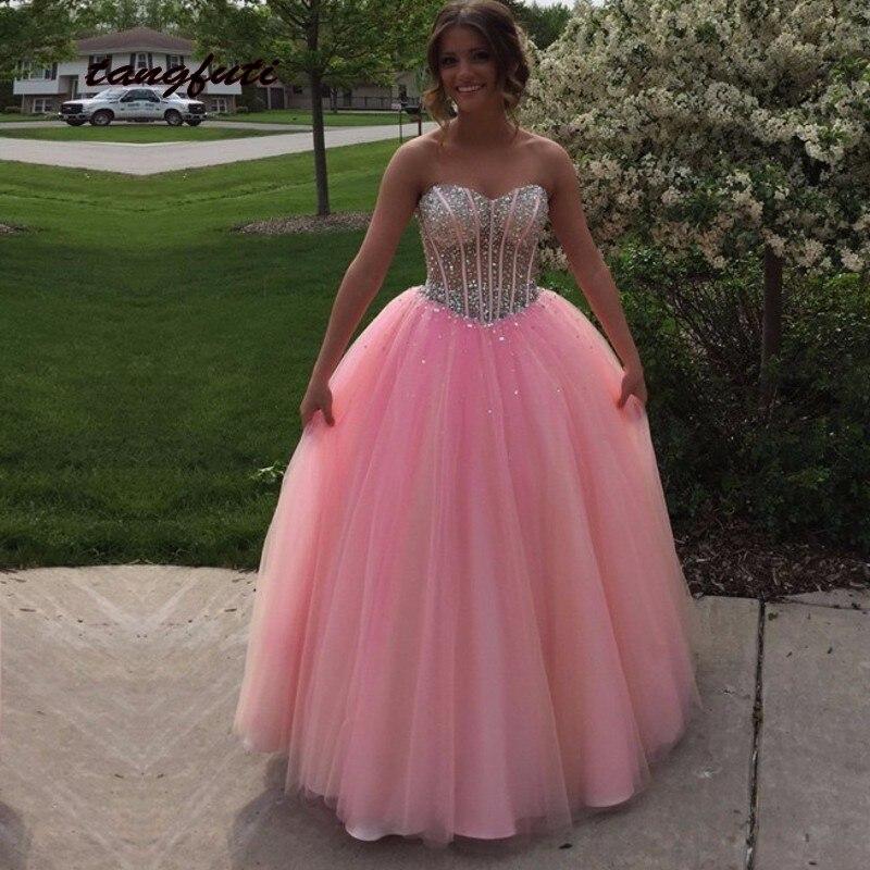 Paillettes rose perlée Quinceanera robes Debutante robe de bal 15 ans doux 16 seize vestido quinceanera de 15 anos