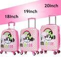 Niños Niñas Minnie Mouse Trolley Caso Maleta/Bebé de la Historieta Polka Dot Maleta Con Ruedas/Niño Arco Iris Spinner de Viaje equipaje