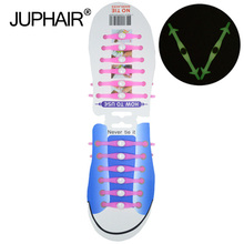 JUP1-12Sets(12Root/Set) Phosphors Noctilucent Fashion Girls Women Sport Men Running Shoe No Tie Laces Elastic Silicone Shoelace jup1 12 sets 16root set multi color lace shoelace elastic silicone men women boy girl sneakers sport basketball running laces