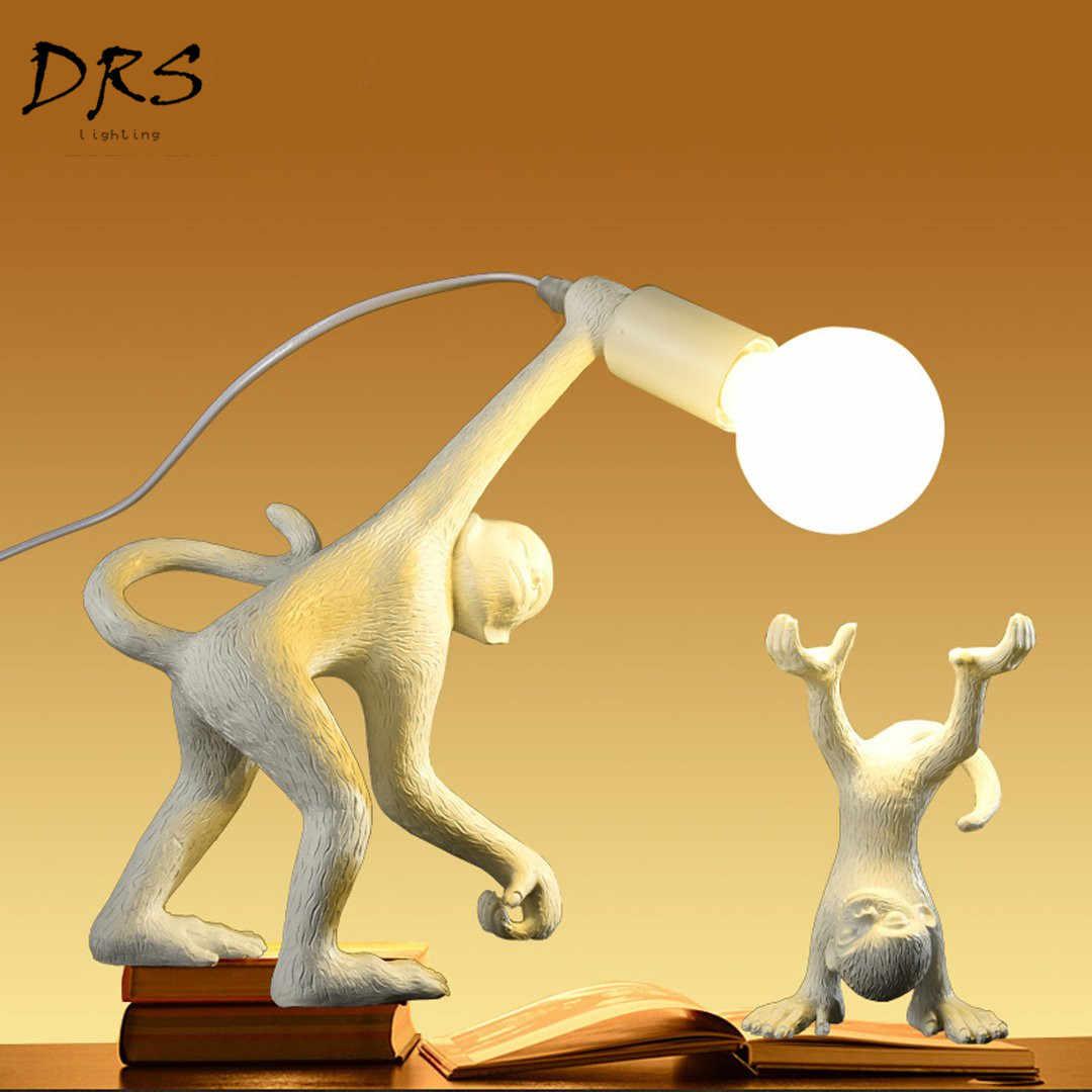 Современный светодиодный Настольный светильник из смолы, лампа в форме обезьяны, для прихожей, лофт, пеньковая веревка, подвесной светильник, для учебы, бара, кафе, Декор, светильник, светильники