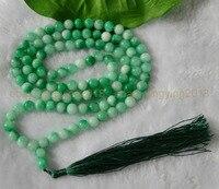 Sıcak satış gül gelin Sıcak satış S>> 8mm Yeşil Doğal taş Tibet Budist 108 Namaz Boncuk Mala Kolye-gelin takı ücretsiz kargo