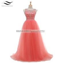 A-line Prom Kleider 2017 Scoop Weg Von der Schulter Sleeveless Bodenlangen Tull mit Kristall Lange Formale Kleid Perlen Abendkleider