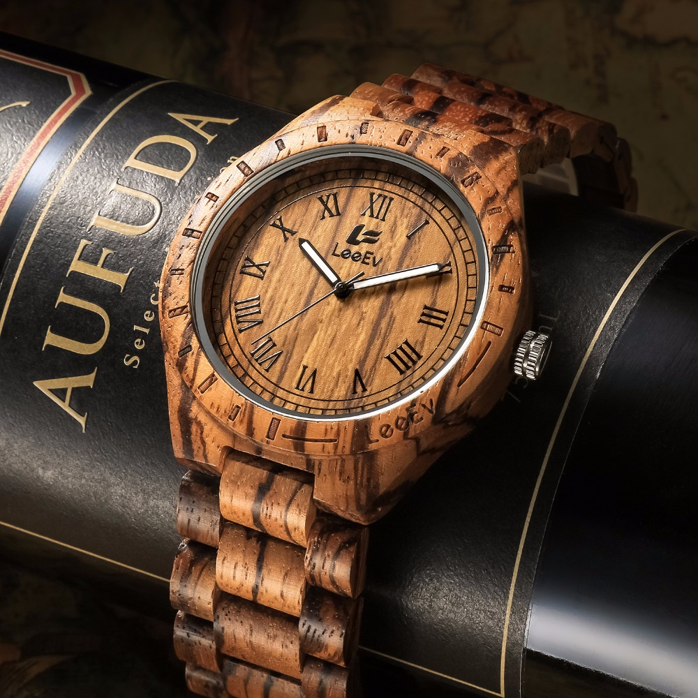 LeeEv Ev1001 Natural Handmade Zebra Sandal Wooden Watches For Men Luxury Watch MIYOTA Quartz Retro Antique Sandalwood Relogio шкатулка prestige antique zebra