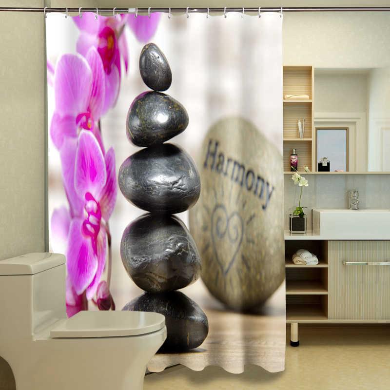 متناغم الطبيعة 3D دش الستائر اللوتس الخيزران والحجر الحمام ستارة للماء سميكة ستارة حمام للتخصيص