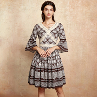 Artka 2017 Autumn New Collections Vintage Lace Decrations V Neck Cotton Palace Style Ruffles Sleeves Elegant