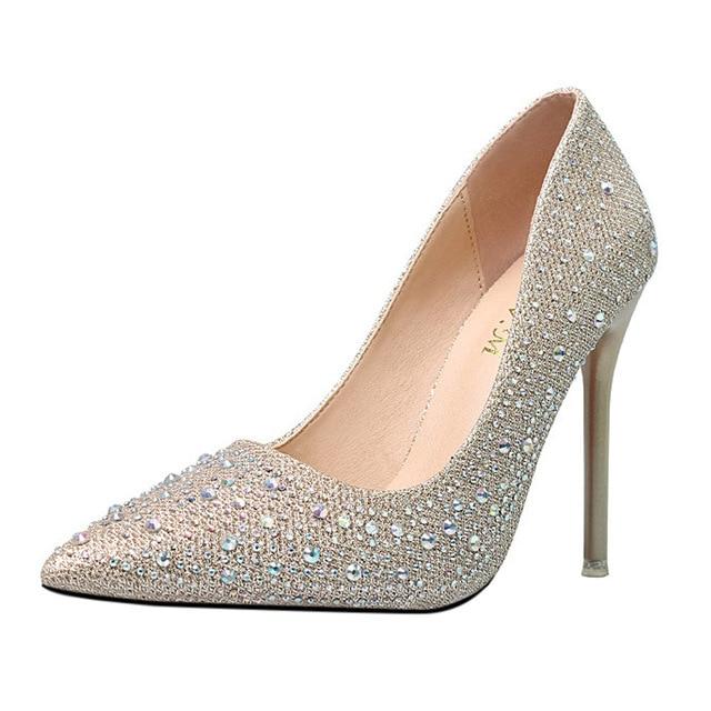 2018 Spring Autumn Rhinestone High Heels Cinderella Shoes Women Pumps  Pointed Toe Woman Crystal Wedding Shoes Slip-On Heel 8Cm 4d79eed9baa8