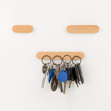Key Wooden Holder Wall Storage Organizer Strong Magnetic Rack Hanger Ring Hooks Clerk Housekeeper on the wall