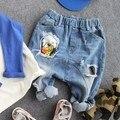 3-9Y novo 2016 outono meninos moda dos desenhos animados patchwork de jeans de alta qualidade crianças crianças calça jeans meninos denim calças