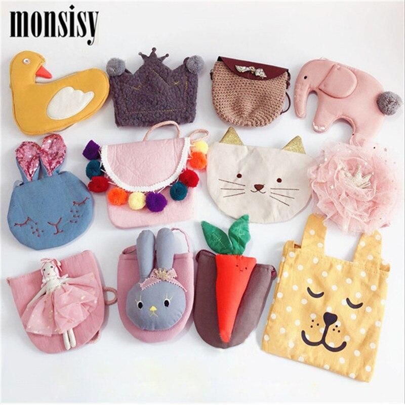 Monsisy/Рождественская сумка для маленьких девочек, Детский кошелек, сумка со слоном/цветком/котом/куколкой/короной, милый детский кошелек на п...