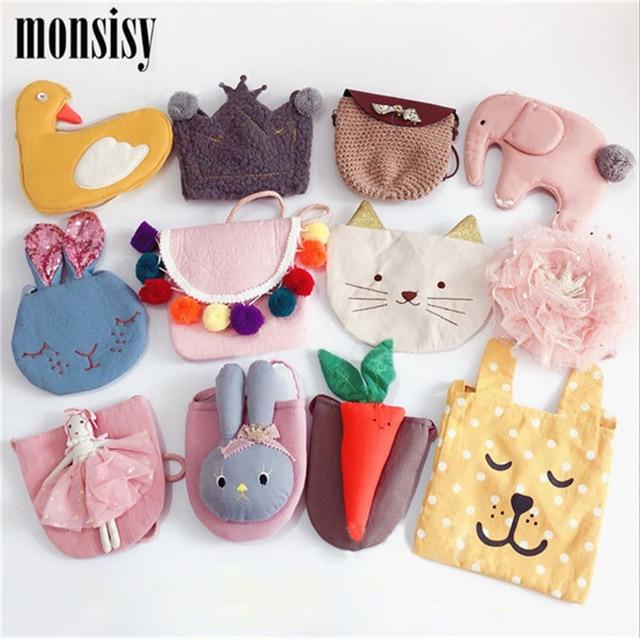 Monsisy Navidad bebé niña bolso de mano niños monedero bolsa elefante/flor/gato/MUÑECA/monedero de corona bolso de hombro lindo chico