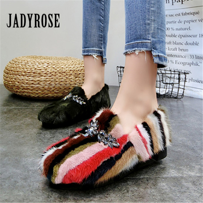 Jady Rose Femmes Hiver Chaud De Fourrure Appartements Femmes Oisifs Occasionnels Plate-Forme Creepers Espadrilles Chaussures Femme Dames Sneakers